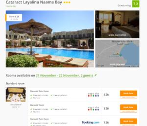 Стоимость за одну ночь в отеле Cataract Layalina Naama Bay