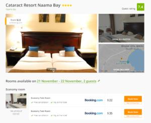 Стоимость проживания в отеле Cataract Resort за одну ночь